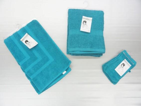 Serviette, gant toilette et tapis de bain, 100% coton