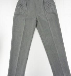 Pantalon femme classique, poche brodée, ceinture élastique, 75% polyester/20% viscose/ 5% elasthanne , taille 2 à 7, differents coloris.